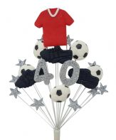 Footballer 40th birthday cake topper decoration - red shirt - free postage